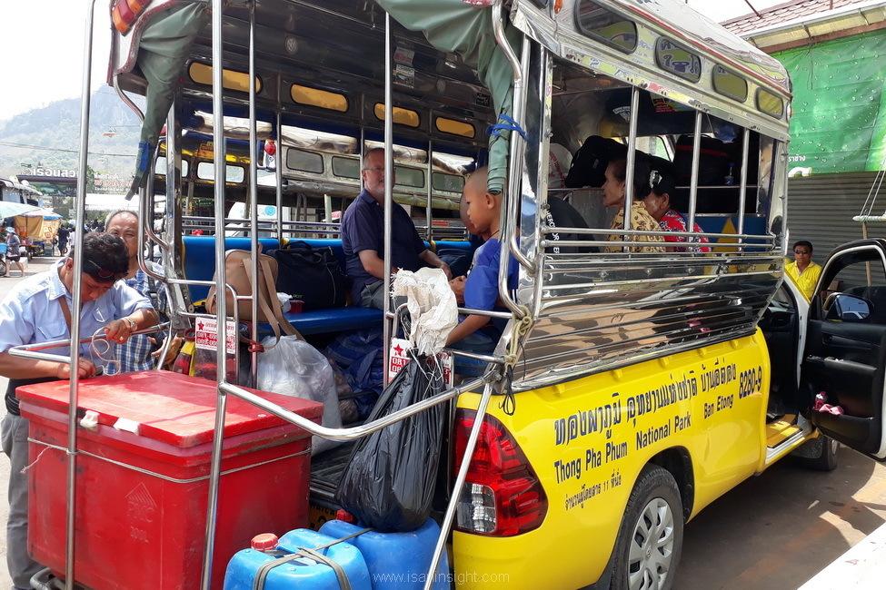 รถสองแถวอีต่อง รถไฟ น้ำตก กาญจนบุรี ทองผาภูมิ บ้านอีต่อง เหมืองแร่ปิล๊อก เดินทาง